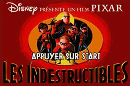 Title screen of Incredibles on the Nintendo Game Boy Advance.
