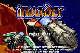 Title screen of Invader on the Nintendo Game Boy Advance.
