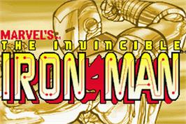 Title screen of Invincible Iron Man on the Nintendo Game Boy Advance.