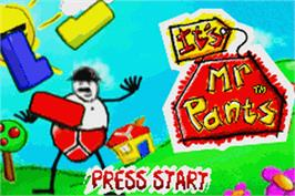 Title screen of It's Mr. Pants on the Nintendo Game Boy Advance.