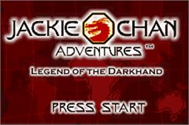 Title screen of Jackie Chan Adventures: Legend of the Dark Hand on the Nintendo Game Boy Advance.