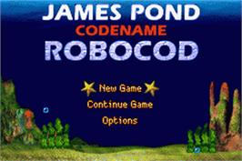 Title screen of James Pond 2: Codename: RoboCod on the Nintendo Game Boy Advance.