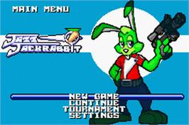 Title screen of Jazz Jackrabbit on the Nintendo Game Boy Advance.