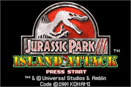 Title screen of Jurassic Park III: Island Attack on the Nintendo Game Boy Advance.