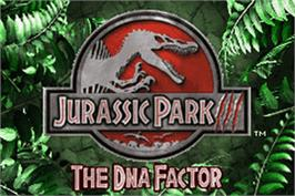 Title screen of Jurassic Park III: The DNA Factor on the Nintendo Game Boy Advance.