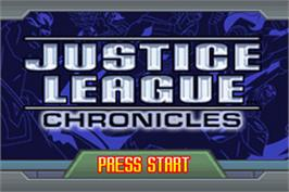 Title screen of Justice League: Chronicles on the Nintendo Game Boy Advance.