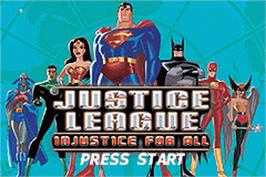 Title screen of Justice League: Injustice for All on the Nintendo Game Boy Advance.