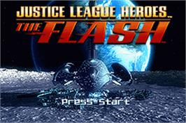 Title screen of Justice League Heroes: The Flash on the Nintendo Game Boy Advance.