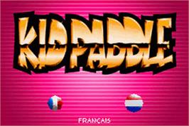 Title screen of Kid Paddle on the Nintendo Game Boy Advance.