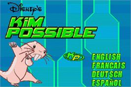 Title screen of Kim Possible: Revenge of Monkey Fist on the Nintendo Game Boy Advance.