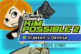 Title screen of Kim Possible 2: Drakken's Demise on the Nintendo Game Boy Advance.