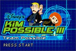 Title screen of Kim Possible 3: Team Possible on the Nintendo Game Boy Advance.
