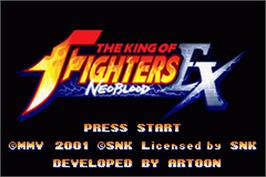 Title screen of King of Fighters EX: Neo Blood on the Nintendo Game Boy Advance.
