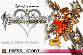 Title screen of Kingdom Hearts: Chain of Memories on the Nintendo Game Boy Advance.