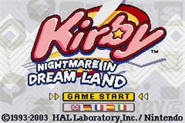 Title screen of Kirby: Nightmare in Dreamland on the Nintendo Game Boy Advance.