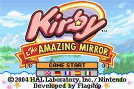 Title screen of Kirby and the Amazing Mirror on the Nintendo Game Boy Advance.