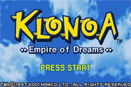 Title screen of Klonoa: Empire of Dreams on the Nintendo Game Boy Advance.