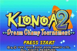 Title screen of Klonoa 2: Dream Champ Tournament on the Nintendo Game Boy Advance.