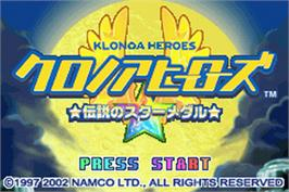 Title screen of Klonoa Heroes: Densetsu no Star Medal on the Nintendo Game Boy Advance.