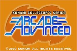 Title screen of Konami Collector's Series: Arcade Advanced on the Nintendo Game Boy Advance.