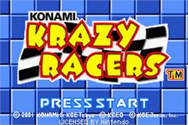 Title screen of Konami Krazy Racers on the Nintendo Game Boy Advance.