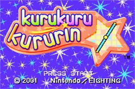 Title screen of Kuru Kuru Kururin on the Nintendo Game Boy Advance.