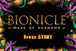 Title screen of LEGO Bionicle: Tales of Tohunga on the Nintendo Game Boy Advance.