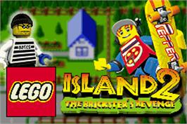 Title screen of LEGO Island 2: The Brickster's Revenge on the Nintendo Game Boy Advance.