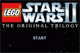 Title screen of LEGO Star Wars 2: The Original Trilogy on the Nintendo Game Boy Advance.