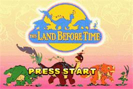 Title screen of Land Before Time on the Nintendo Game Boy Advance.