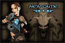 Title screen of Lara Croft Tomb Raider: The Prophecy on the Nintendo Game Boy Advance.