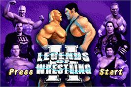Title screen of Legends of Wrestling 2 on the Nintendo Game Boy Advance.