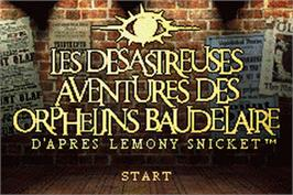 Title screen of Lemony Snicket's A Series of Unfortunate Events on the Nintendo Game Boy Advance.