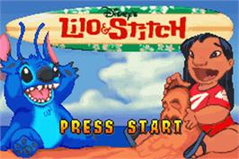 Title screen of Lilo & Stitch on the Nintendo Game Boy Advance.