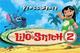 Title screen of Lilo & Stitch 2: Hamsterviel Havoc on the Nintendo Game Boy Advance.