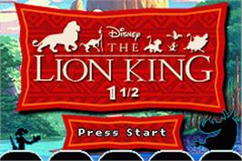 Title screen of Lion King 1 ½ on the Nintendo Game Boy Advance.