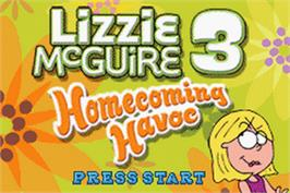 Title screen of Lizzie McGuire 3: Homecoming Havoc on the Nintendo Game Boy Advance.