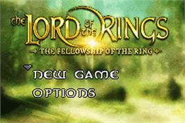 Title screen of Lord of the Rings: The Fellowship of the Ring on the Nintendo Game Boy Advance.