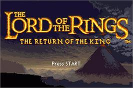 Title screen of Lord of the Rings: The Return of the King on the Nintendo Game Boy Advance.