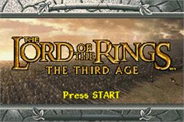 Title screen of Lord of the Rings: The Third Age on the Nintendo Game Boy Advance.