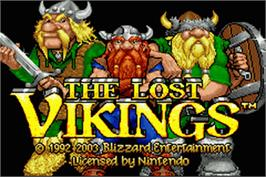 Title screen of Lost Vikings on the Nintendo Game Boy Advance.