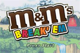 Title screen of M&M's Break' Em on the Nintendo Game Boy Advance.