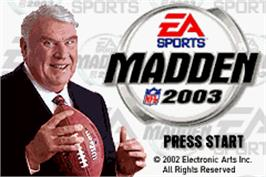 Title screen of Madden NFL 2003 on the Nintendo Game Boy Advance.