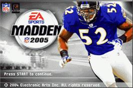 Title screen of Madden NFL 2005 on the Nintendo Game Boy Advance.