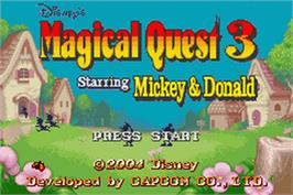 Title screen of Magical Quest 3 starring Mickey and Donald on the Nintendo Game Boy Advance.