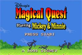 Title screen of Magical Quest Starring Mickey & Minnie on the Nintendo Game Boy Advance.
