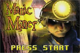 Title screen of Manic Miner on the Nintendo Game Boy Advance.