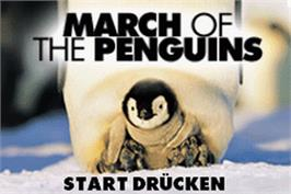 Title screen of March of the Penguins on the Nintendo Game Boy Advance.