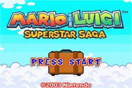 Title screen of Mario & Luigi: Superstar Saga on the Nintendo Game Boy Advance.