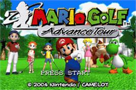 Title screen of Mario Golf: Advance Tour on the Nintendo Game Boy Advance.